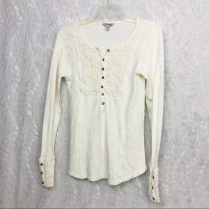 Lucky Brand beige ivory waffle knit crochet shirt